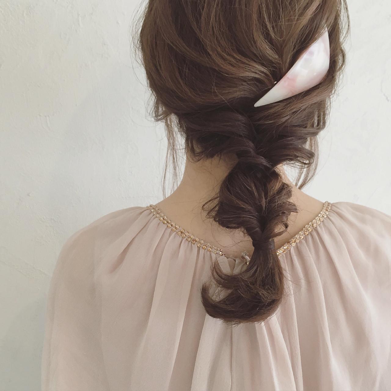 三つ編みとクルリンパのヘアアレンジ♡