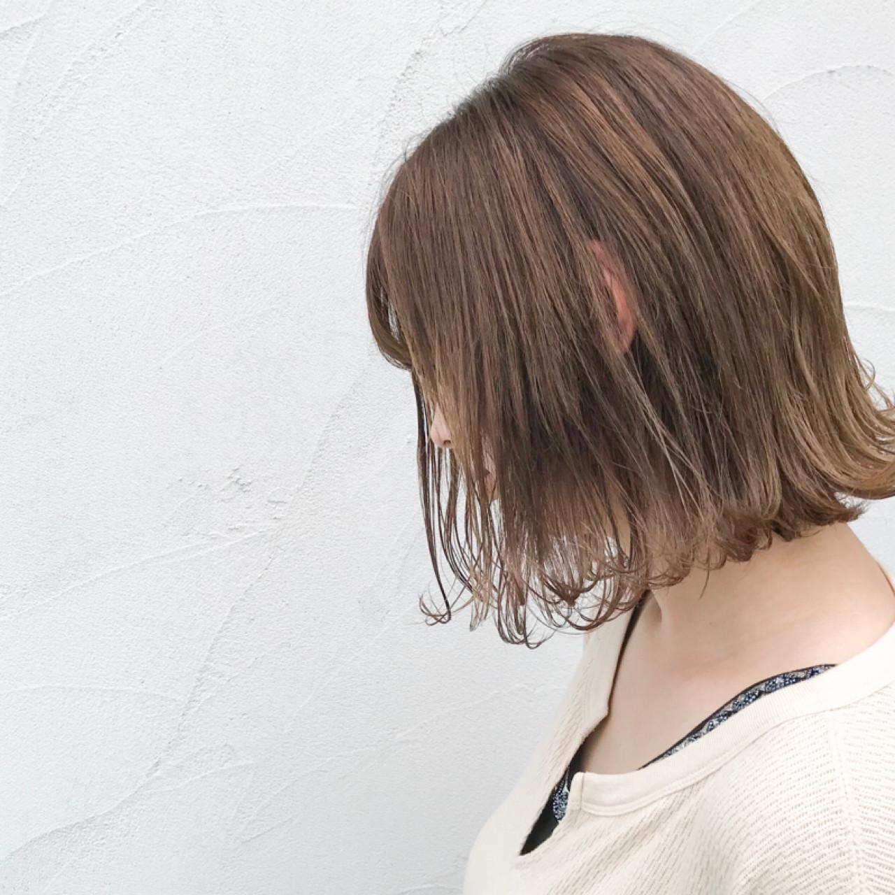 外ハネ ナチュラル ボブ ウェットヘア ヘアスタイルや髪型の写真・画像