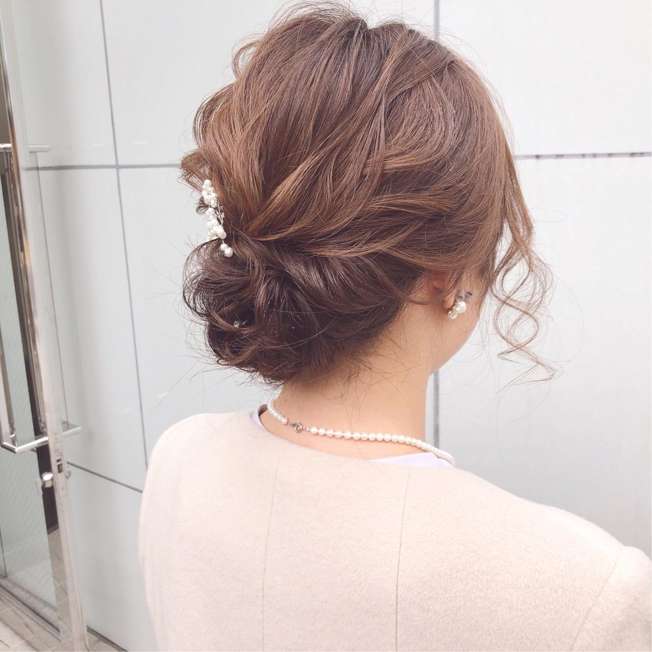 簡単ヘアアレンジ ナチュラル 結婚式 デート ヘアスタイルや髪型の写真・画像