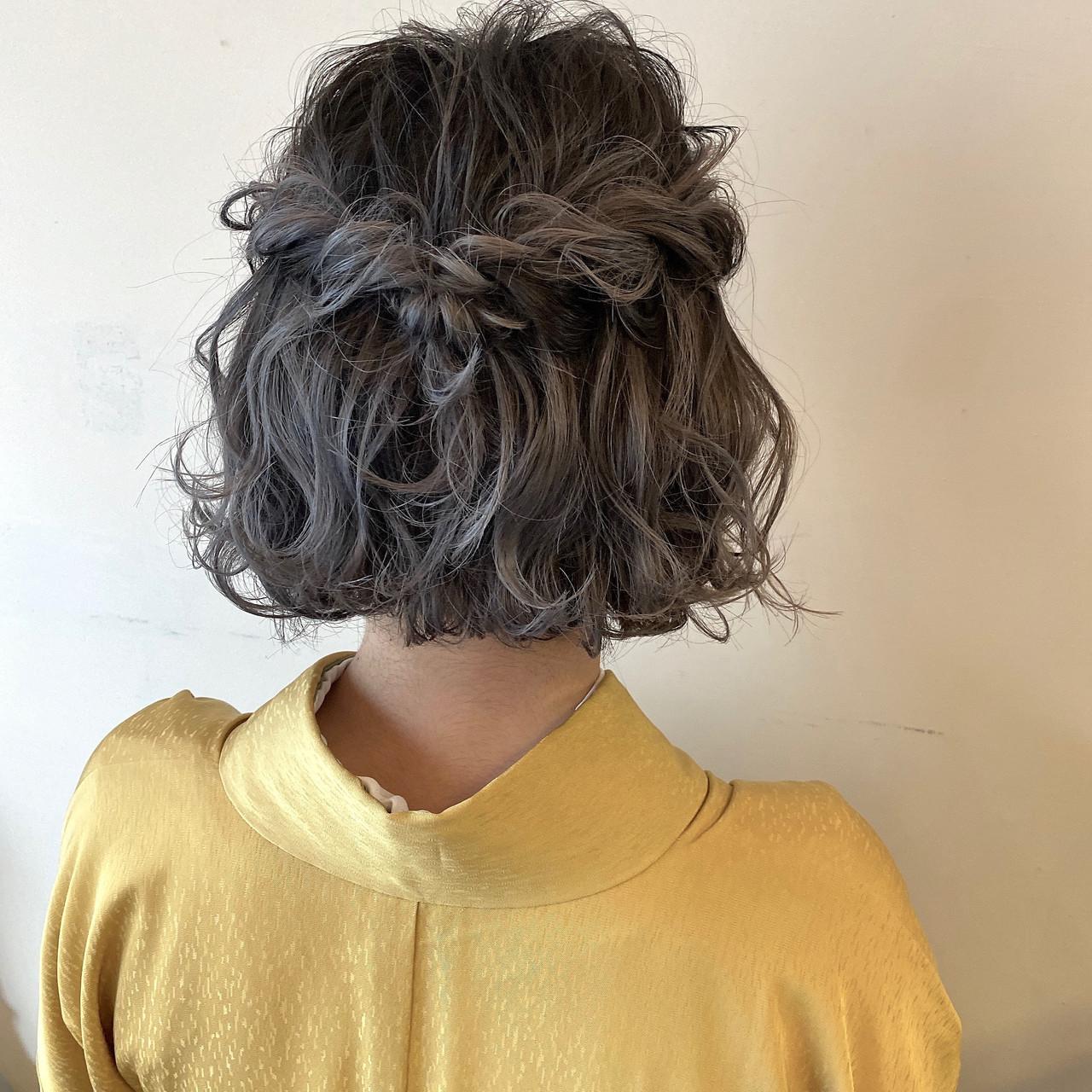 ボブ ミニボブ ヘアセット お呼ばれヘア ヘアスタイルや髪型の写真・画像