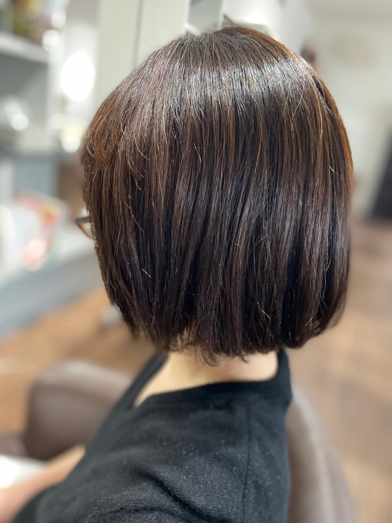 ボブ 切りっぱなしボブ デジタルパーマ ショートヘア ヘアスタイルや髪型の写真・画像 | エイ / aime