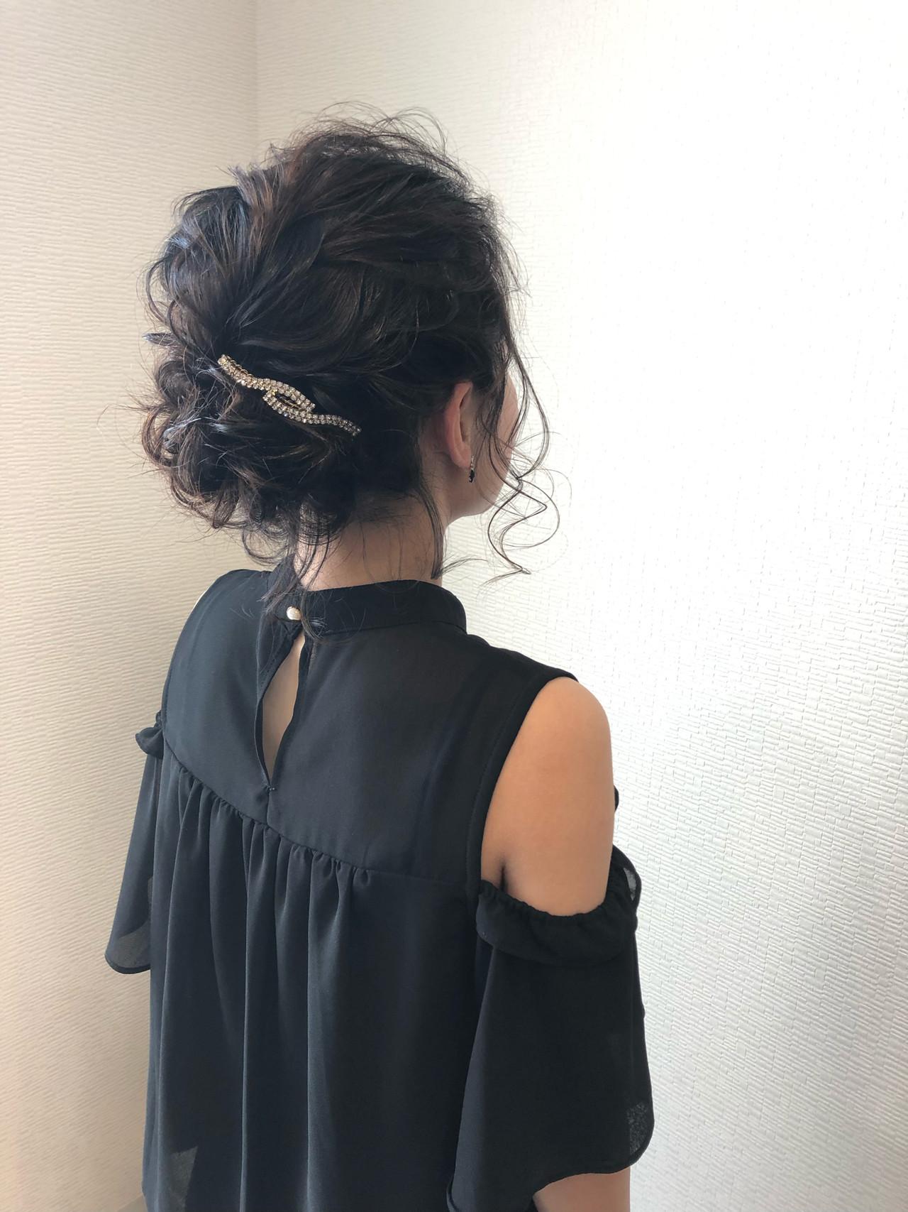 フェミニン アップスタイル アップ ミディアム ヘアスタイルや髪型の写真・画像