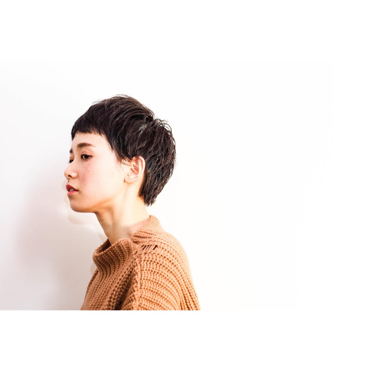 ショートバング 黒髪 ショート ベリーショート ヘアスタイルや髪型の写真・画像