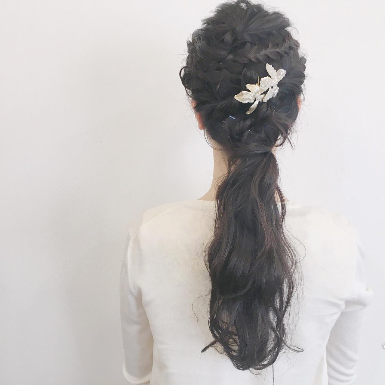簡単ヘアアレンジ 結婚式 編み込み ロング ヘアスタイルや髪型の写真・画像