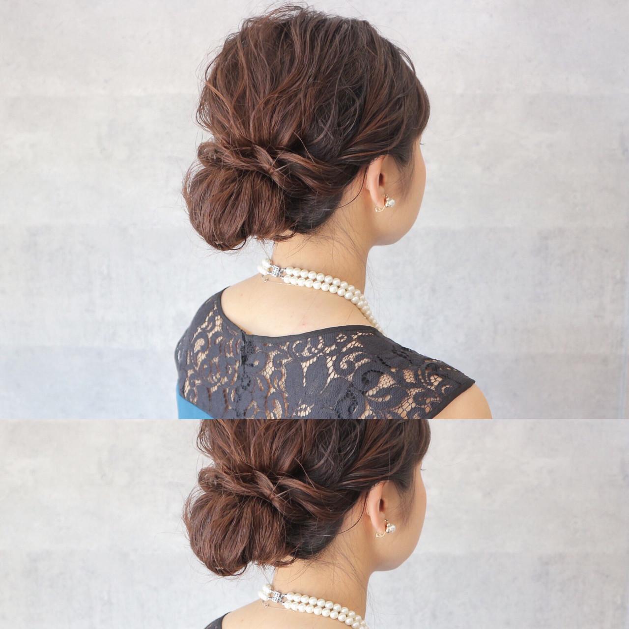 まとめ髪 セミロング ヘアアレンジ エレガント ヘアスタイルや髪型の写真・画像