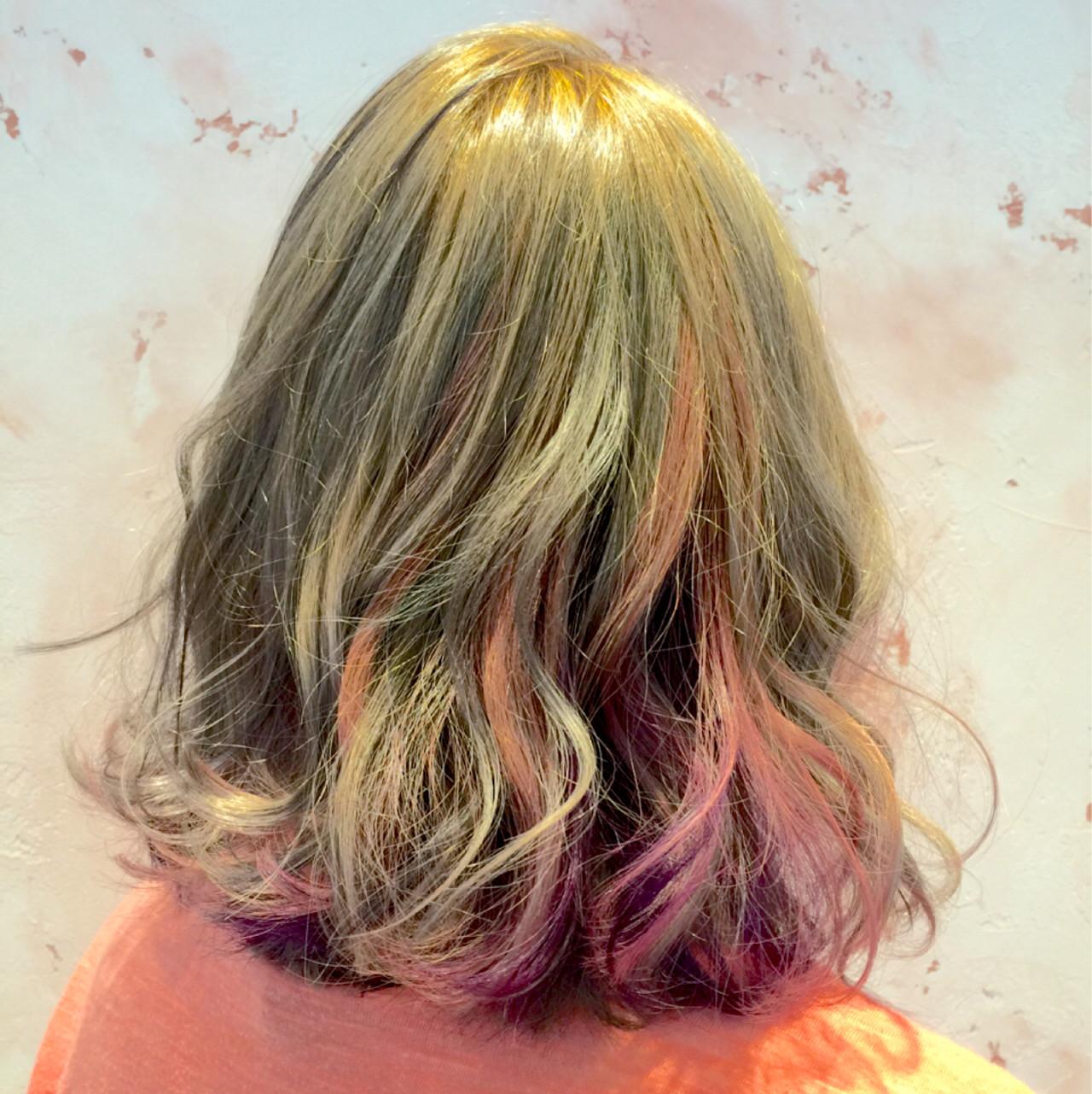 グラデーションカラー 外国人風 ゆるふわ ハイライト ヘアスタイルや髪型の写真・画像
