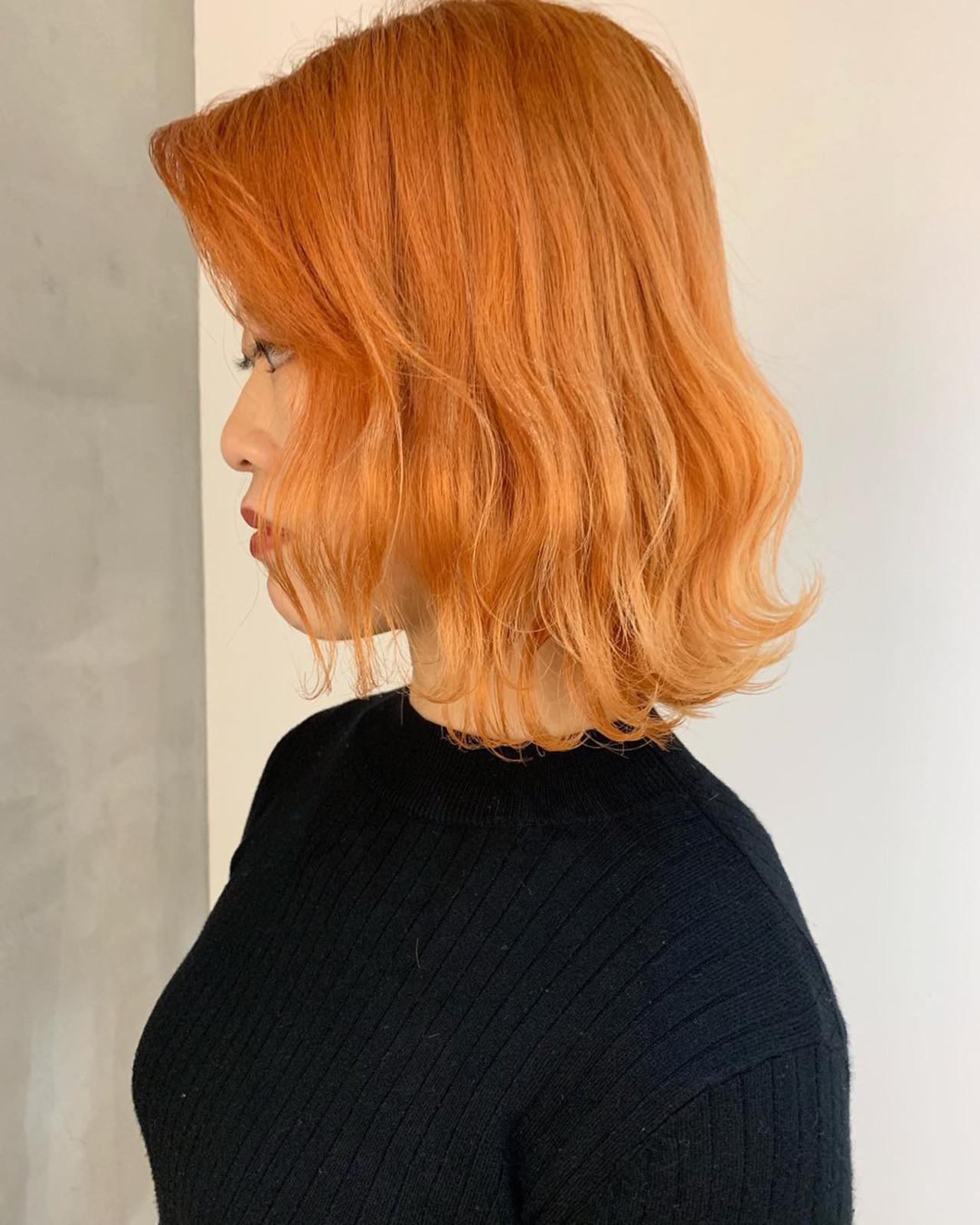 ストリート ボブ ハイトーン アプリコットオレンジ ヘアスタイルや髪型の写真・画像
