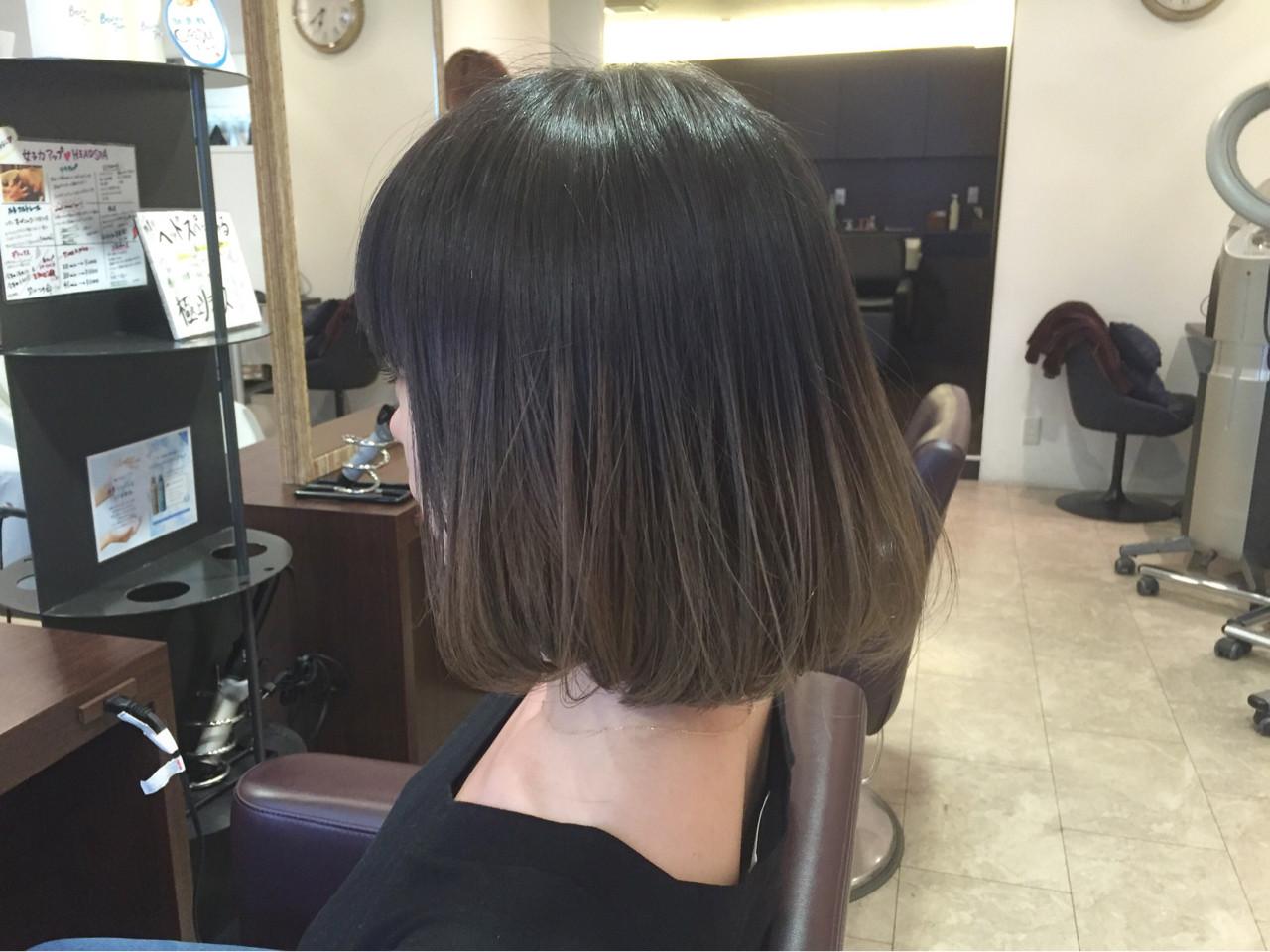 ボブ 暗髪 グラデーションカラー モード ヘアスタイルや髪型の写真・画像