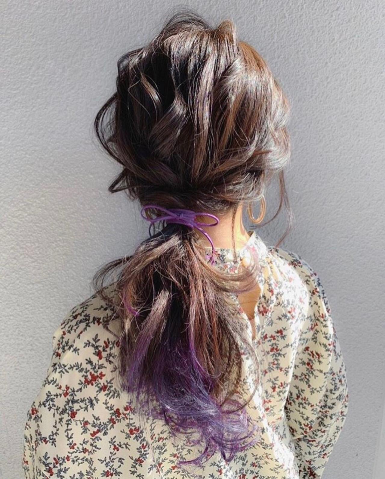 黒髪 結婚式 簡単ヘアアレンジ セミロング ヘアスタイルや髪型の写真・画像
