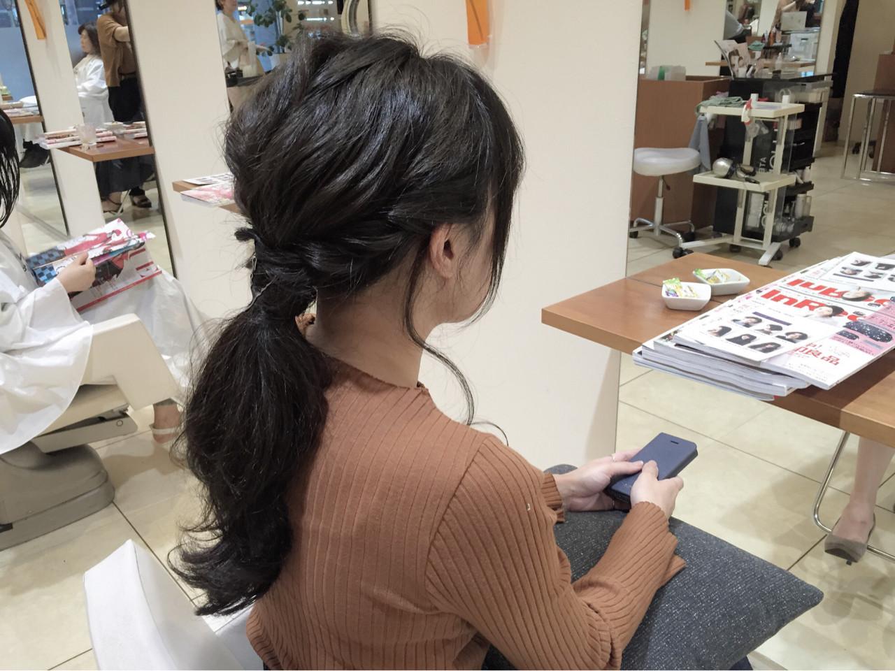 暗髪 波ウェーブ ヘアアレンジ 黒髪 ヘアスタイルや髪型の写真・画像