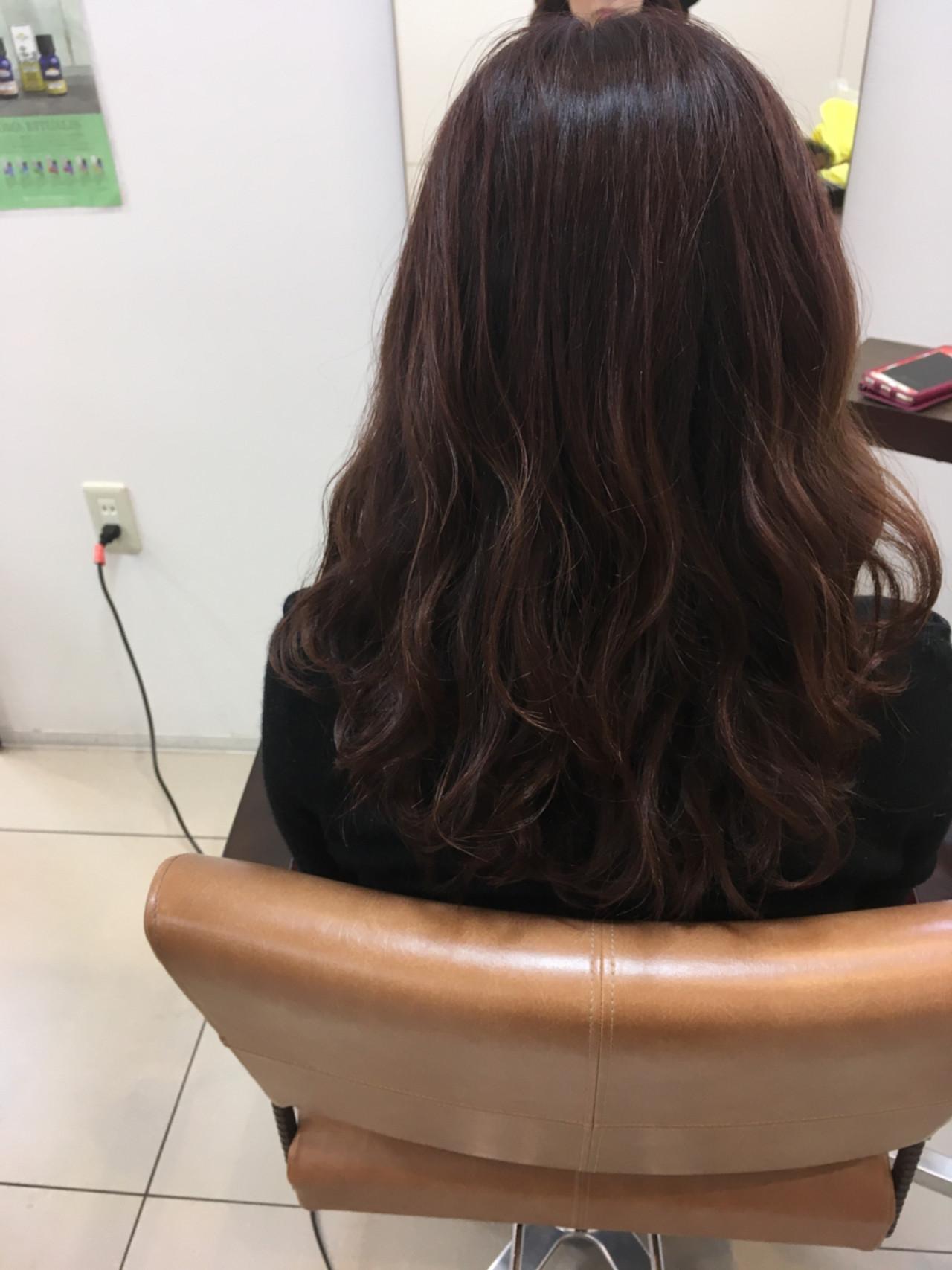 ピンクブラウン ピンクアッシュ セミロング ベージュ ヘアスタイルや髪型の写真・画像