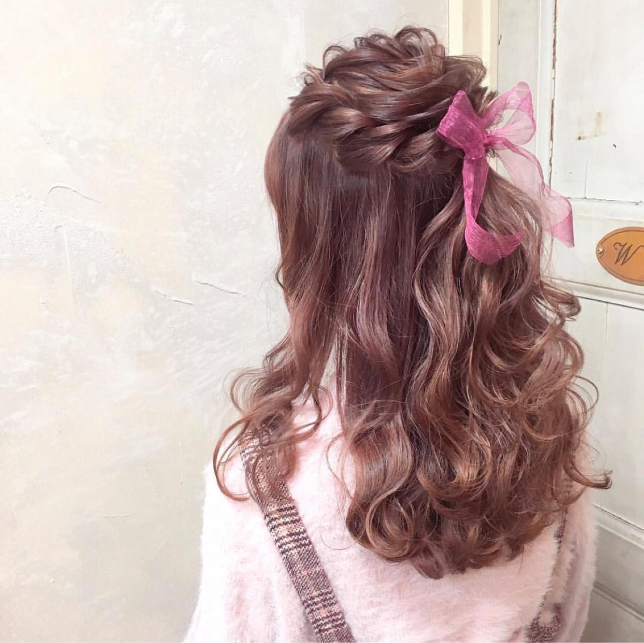 ガーリー ハーフアップ ヘアアレンジ ロング ヘアスタイルや髪型の写真・画像