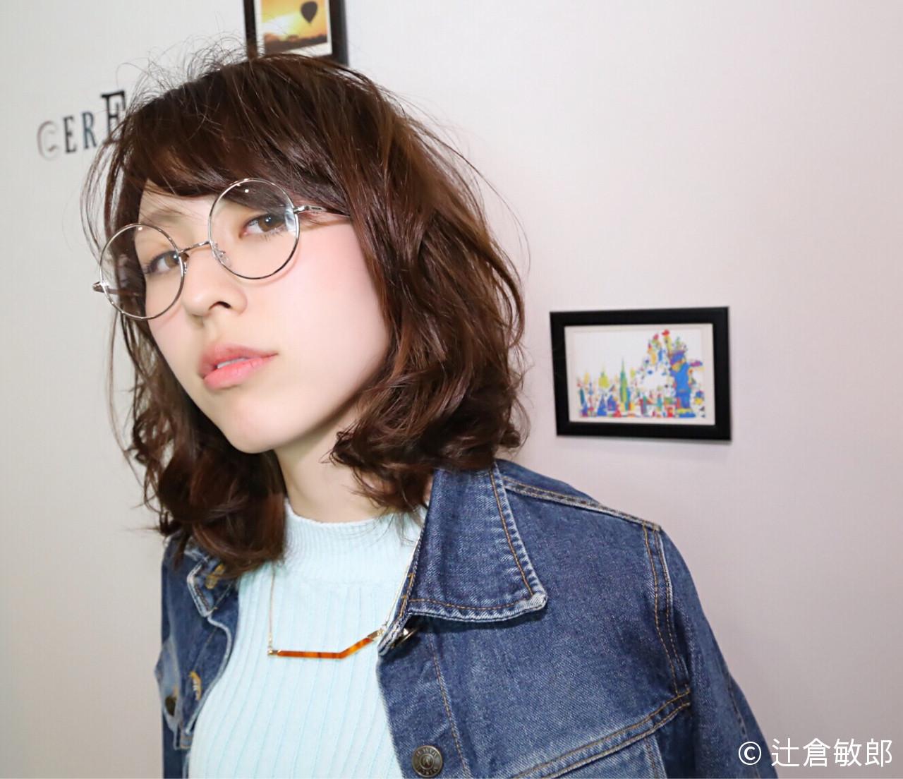 ミディアム ブラウン ストリート ハイライト ヘアスタイルや髪型の写真・画像 | 辻倉敏郎 / La-Coeur