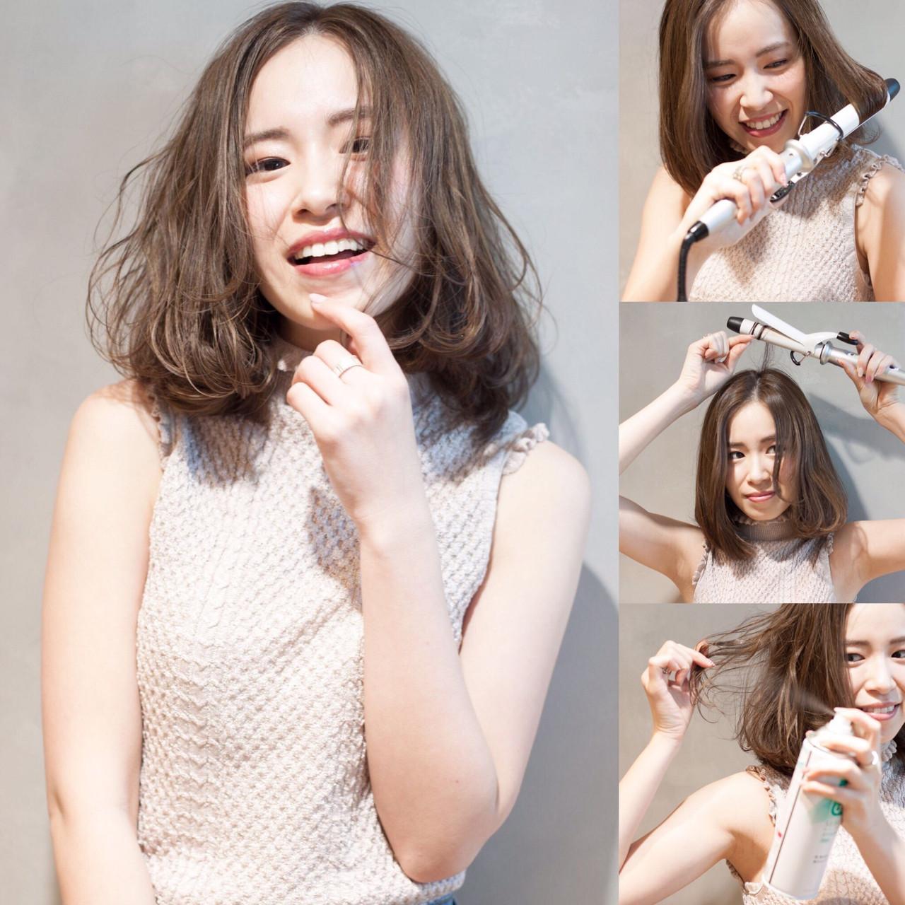 小顔 ミディアム パーマ ナチュラル ヘアスタイルや髪型の写真・画像 | 日野 達也 / GO TODAY  SHAiRE SALON