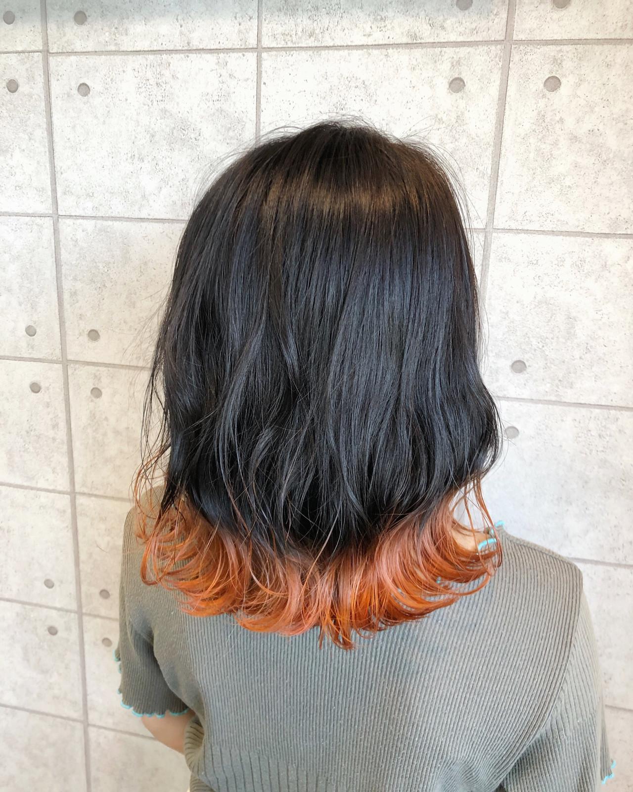 モード アプリコットオレンジ イルミナカラー 裾カラー ヘアスタイルや髪型の写真・画像 | 徳永 実沙 / NYNY 河原町三条店