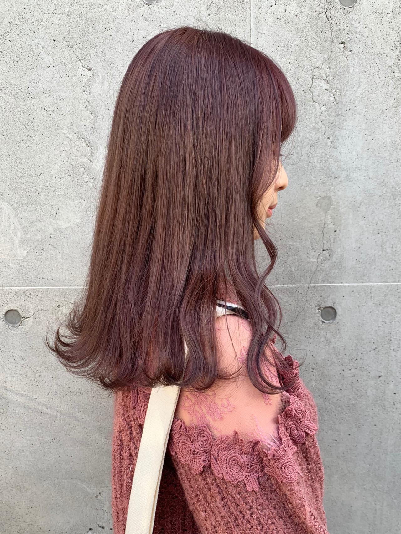 ラベンダーピンク ピンクアッシュ ベージュ ガーリー ヘアスタイルや髪型の写真・画像