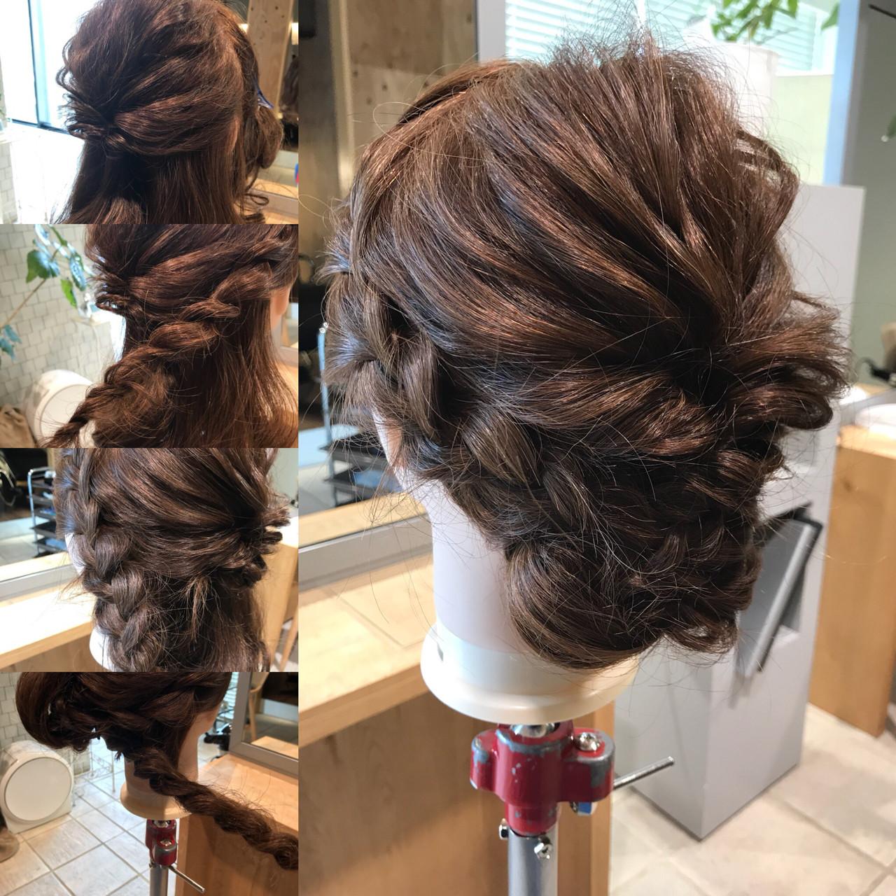 セミロング ナチュラル 簡単 三つ編み ヘアスタイルや髪型の写真・画像