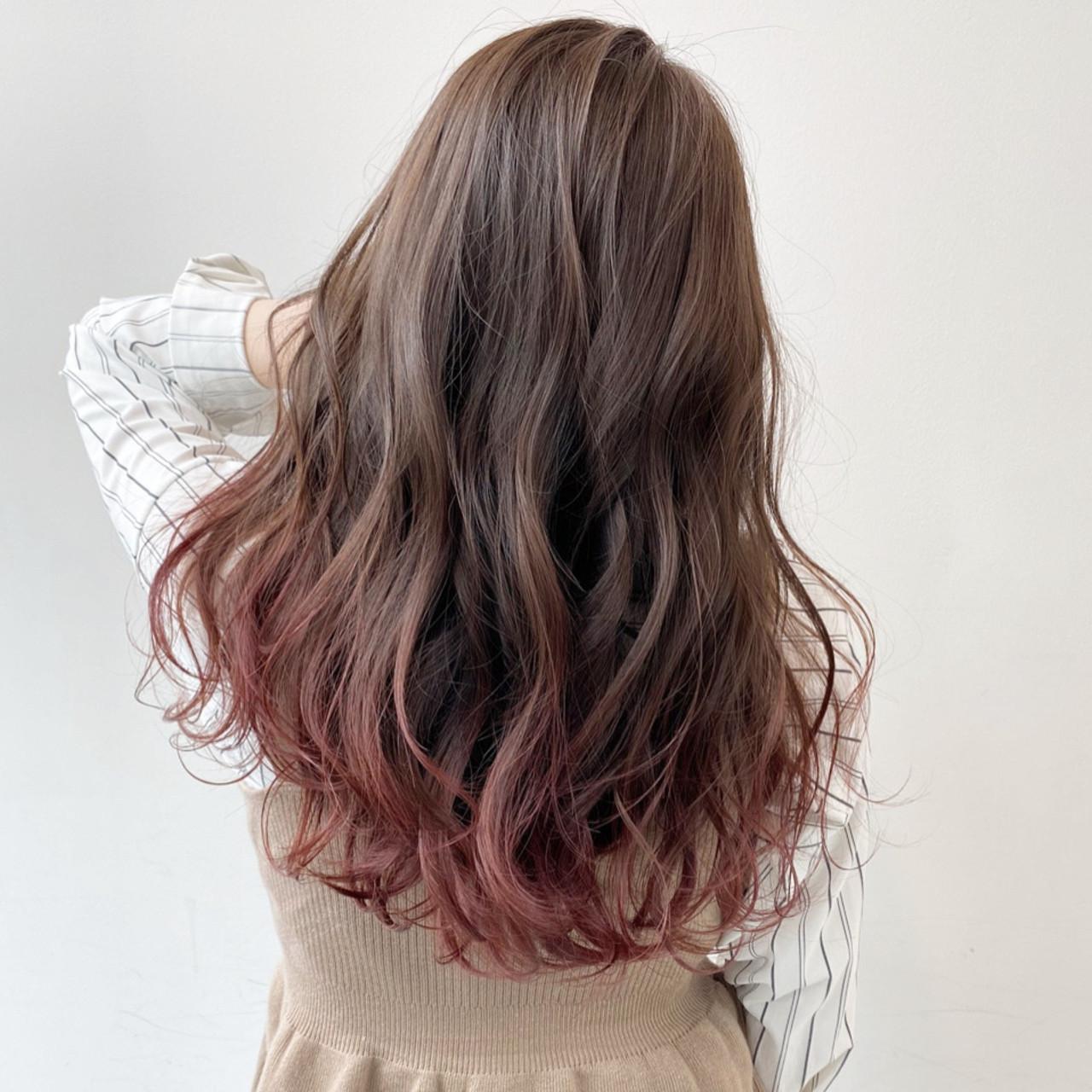 グラデーションカラー ピンクブラウン エレガント ピンクラベンダー ヘアスタイルや髪型の写真・画像