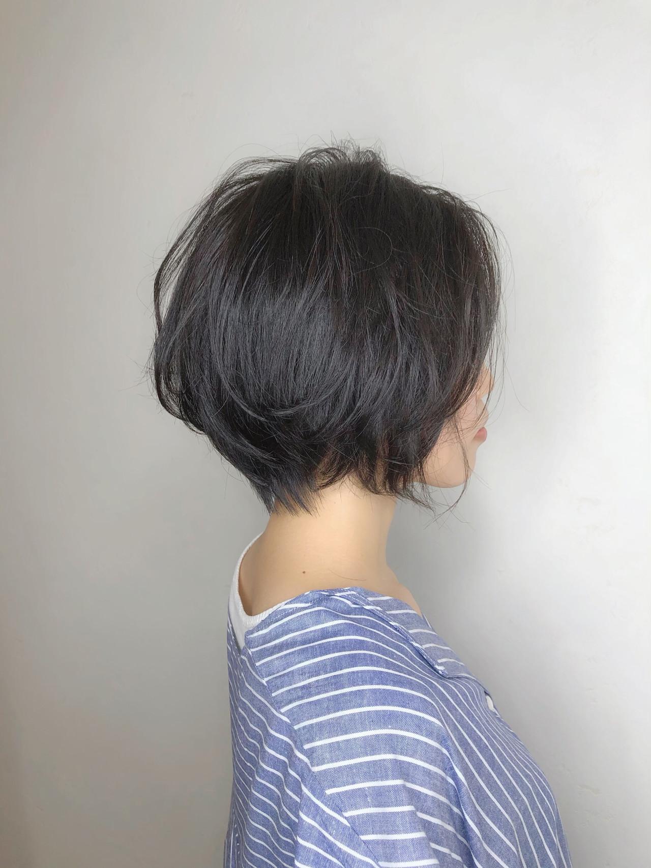 小顔ショート ハンサムショート ショート ショートボブ ヘアスタイルや髪型の写真・画像