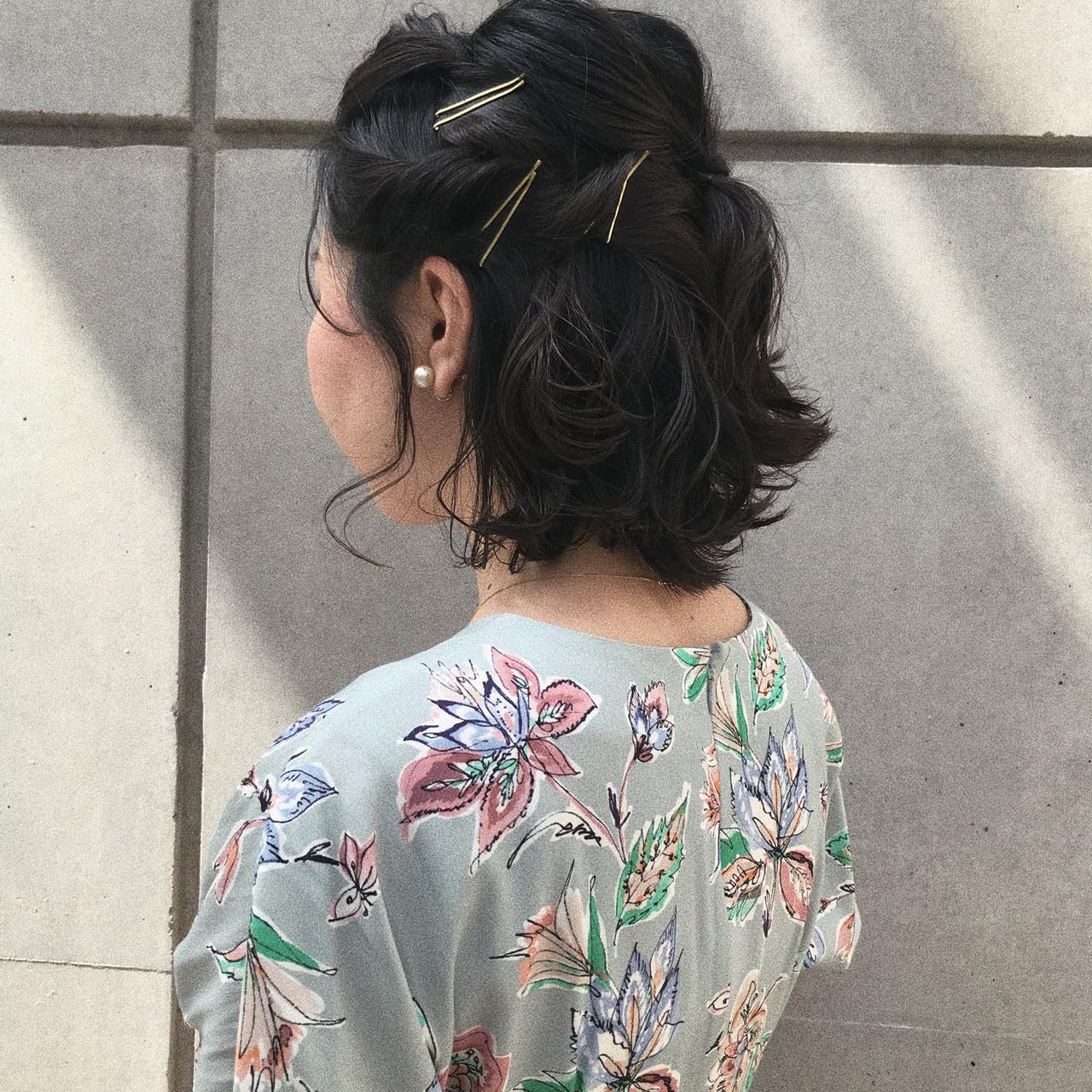 簡単ヘアアレンジ 切りっぱなしボブ ナチュラル ボブ ヘアスタイルや髪型の写真・画像 | 井浦果歩 / ecouter