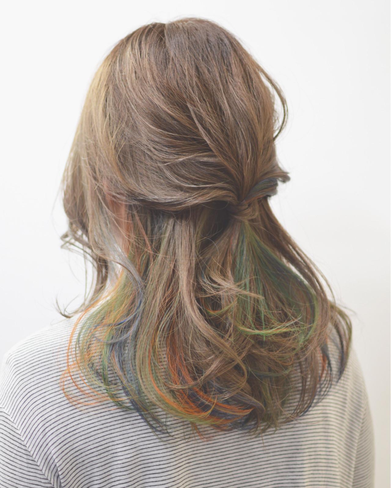 簡単ヘアアレンジ ショート ハーフアップ セミロング ヘアスタイルや髪型の写真・画像
