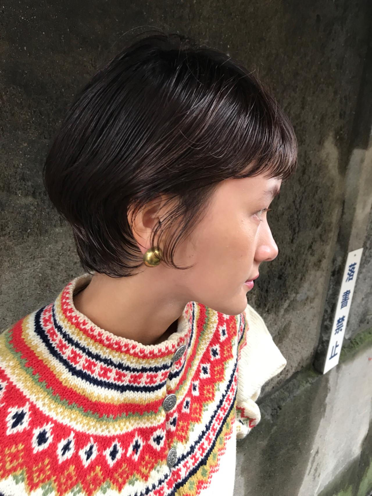透明感 デート 黒髪 ショート ヘアスタイルや髪型の写真・画像 | 小西敬二郎 / Heartim