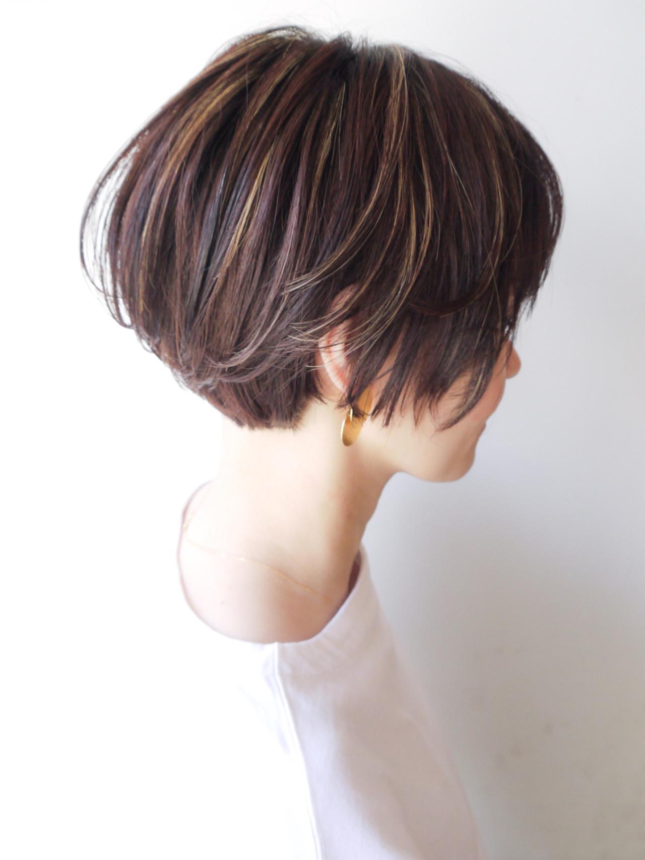 ショート オフィス ショートボブ ハイライト ヘアスタイルや髪型の写真・画像 | HIROKI / roijir / roijir