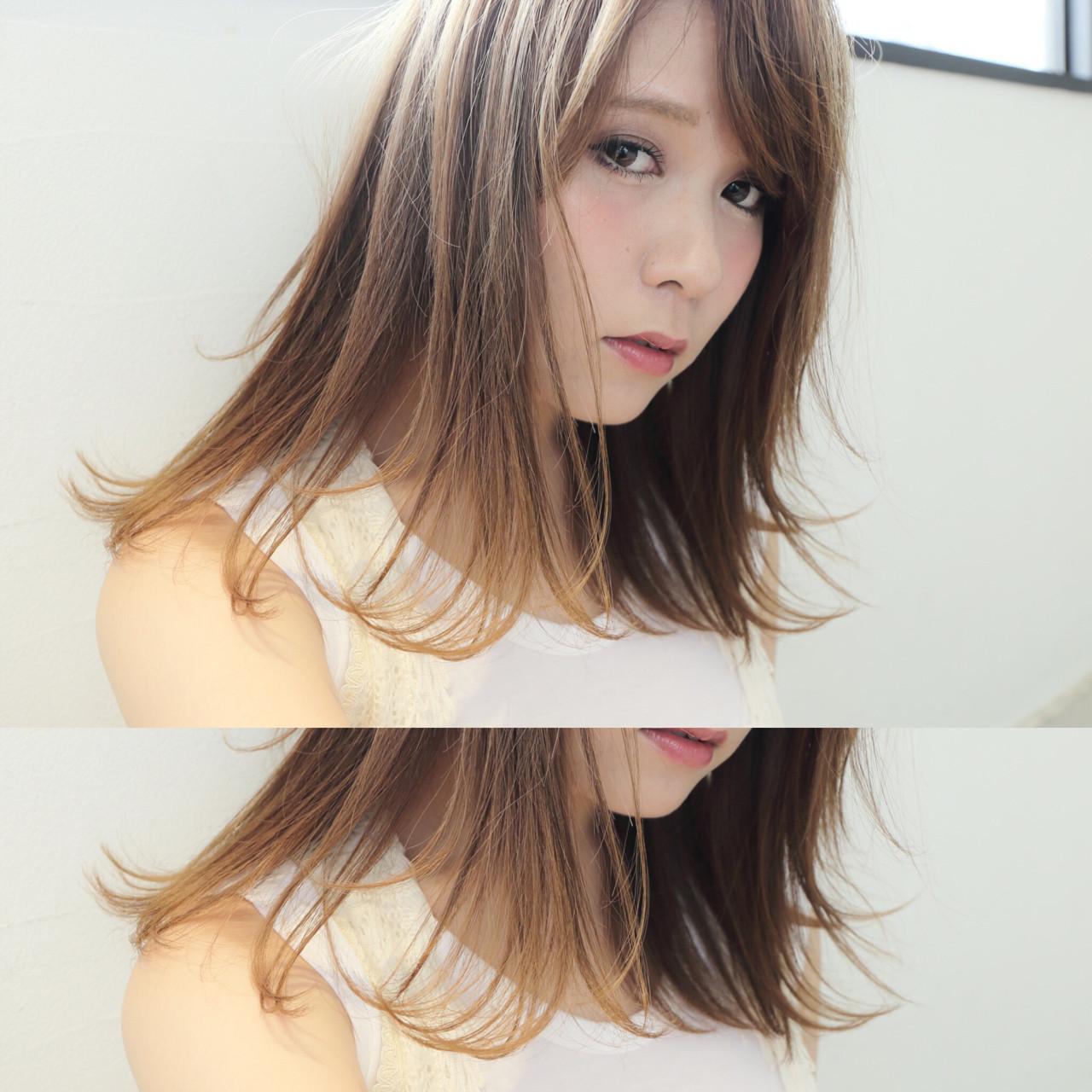 ミディアム フェミニン 外国人風 ハイライト ヘアスタイルや髪型の写真・画像
