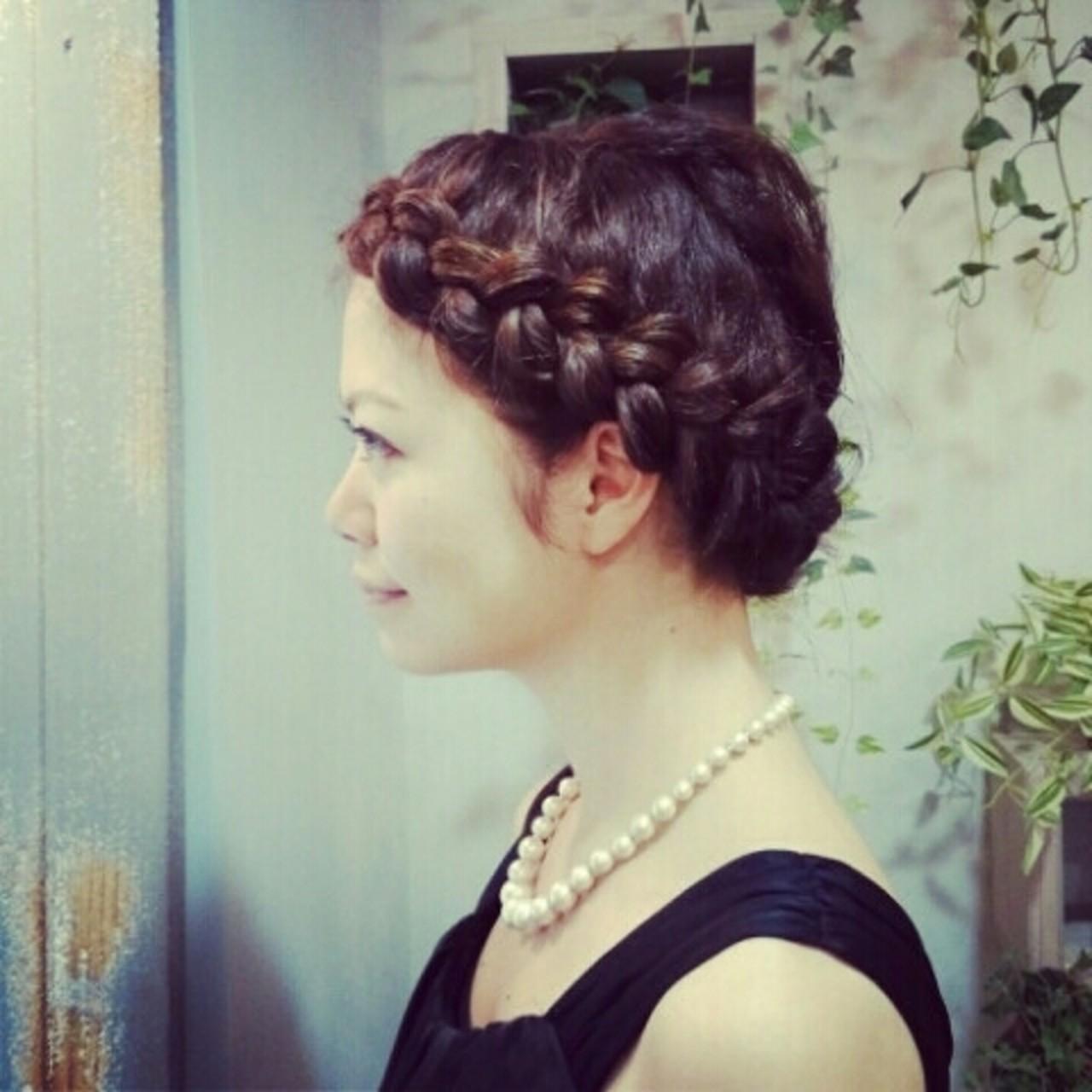 上品 編み込み クラシカル ヘアアレンジ ヘアスタイルや髪型の写真・画像