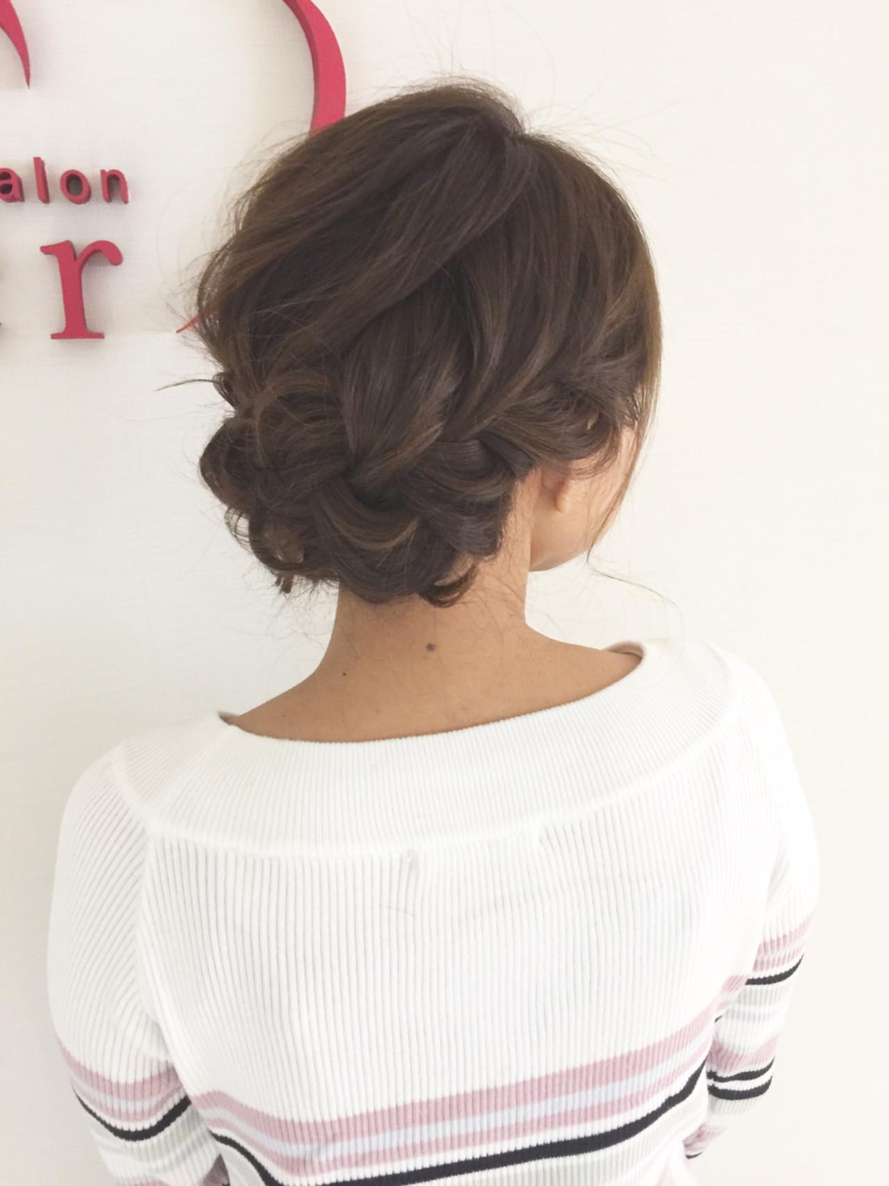 ヘアアレンジ ショート 結婚式 フェミニン ヘアスタイルや髪型の写真・画像 | 栗山 卓也 / ヘアーサロンシェール