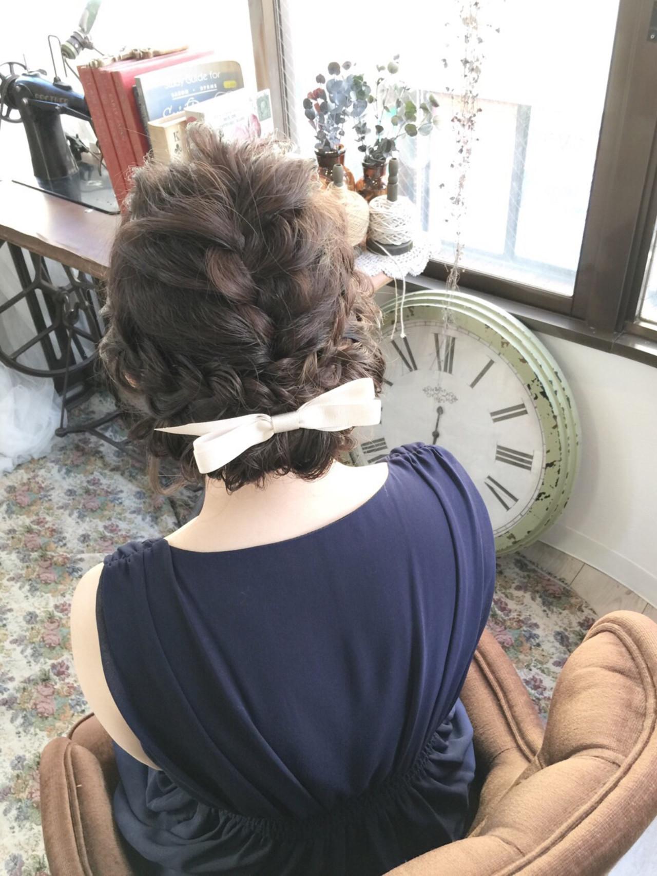 ミディアム 三つ編み 結婚式 ヘアアレンジ ヘアスタイルや髪型の写真・画像 | 菊池 綾子 / AliceHairDesign