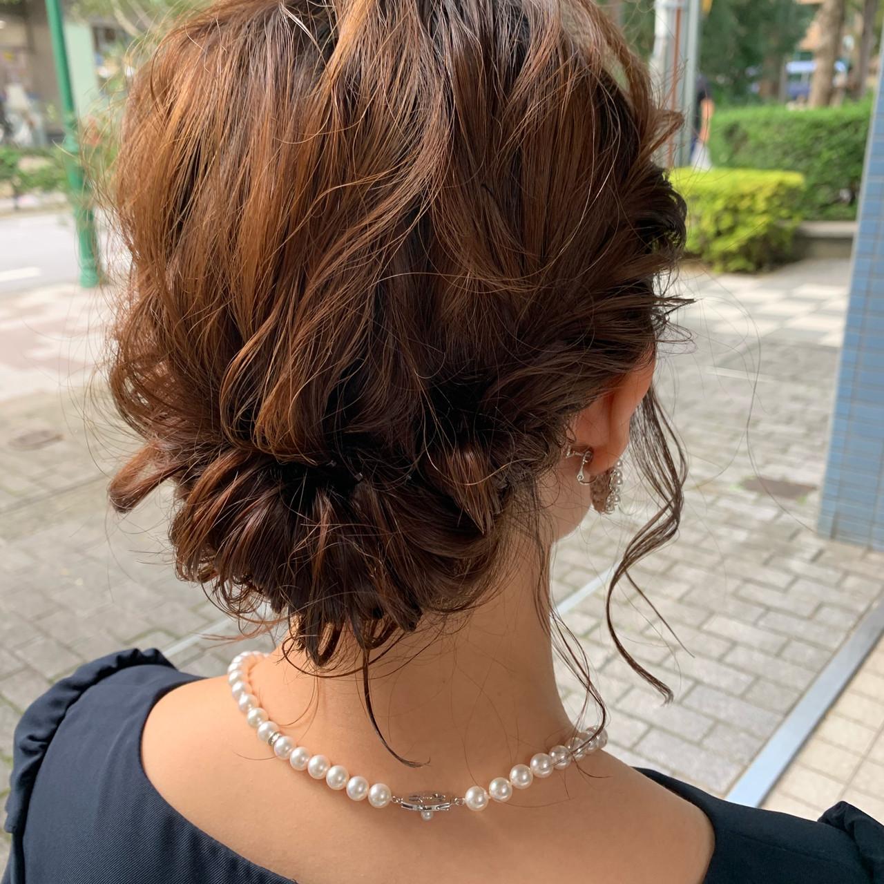 ヘアアレンジ ナチュラル 簡単スタイリング ミディアム ヘアスタイルや髪型の写真・画像
