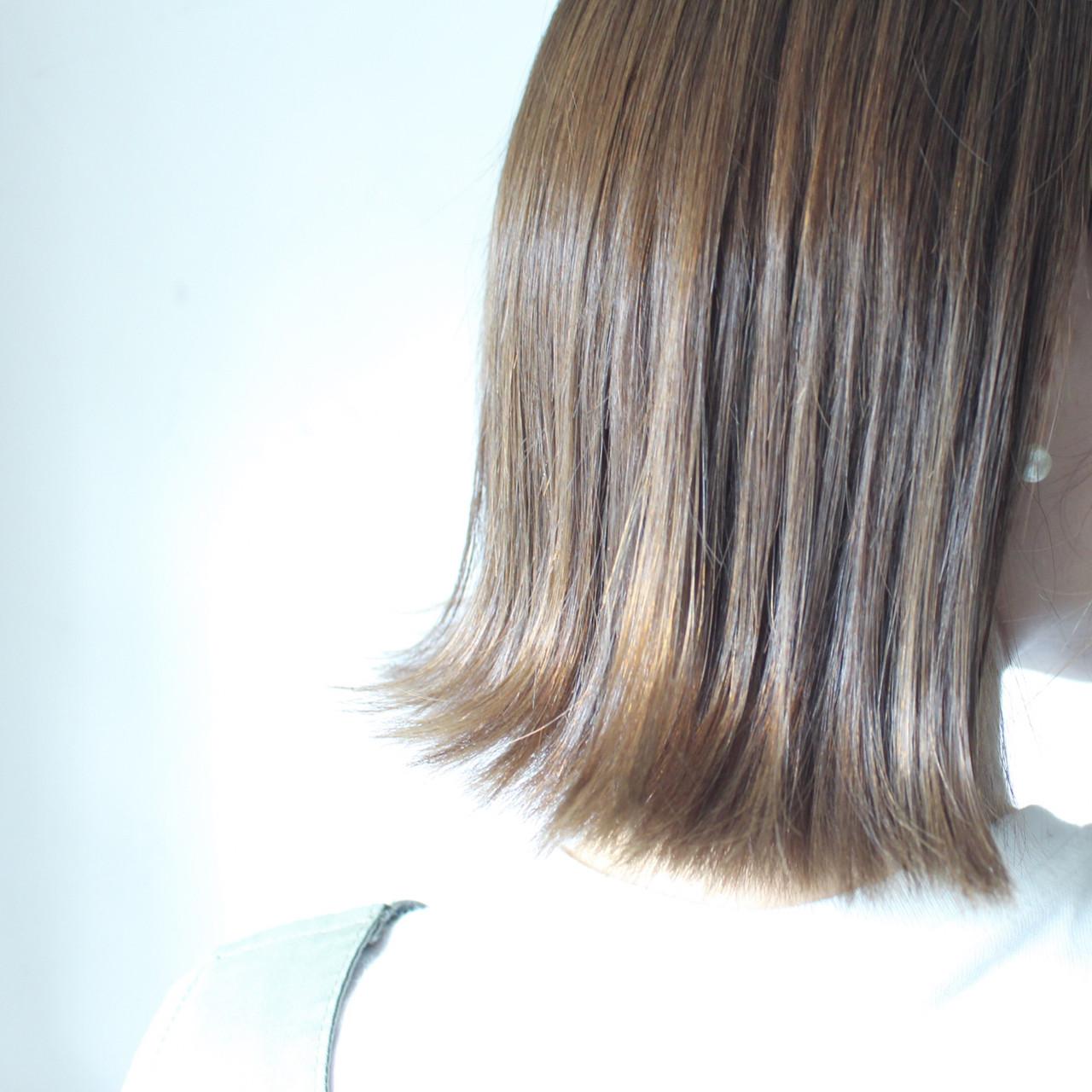 切りっぱなし グレージュ ロブ ナチュラル ヘアスタイルや髪型の写真・画像 | creap / creap