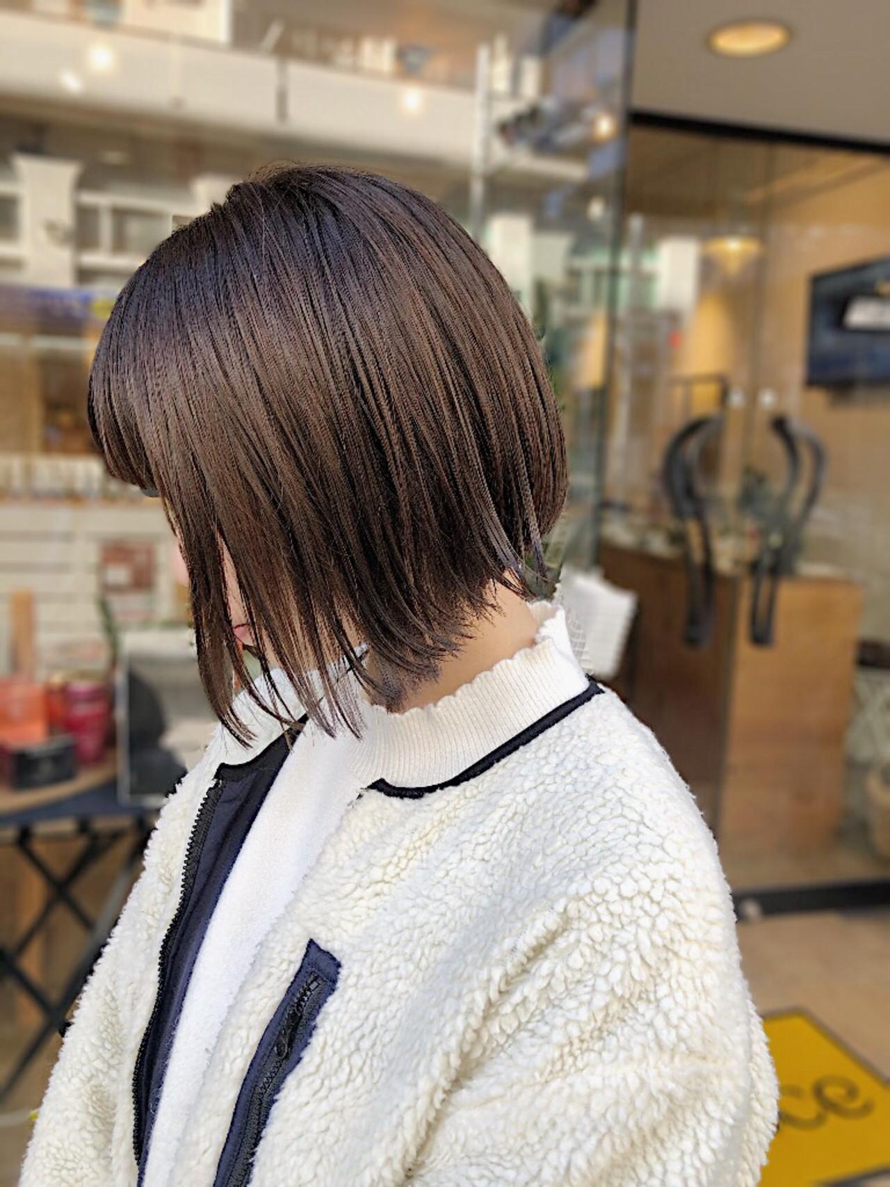 ボブ 透明感カラー ナチュラル ミニボブ ヘアスタイルや髪型の写真・画像 | 野口勇樹【ボブ×透けるダークトーン】 / GO TODAY渋谷