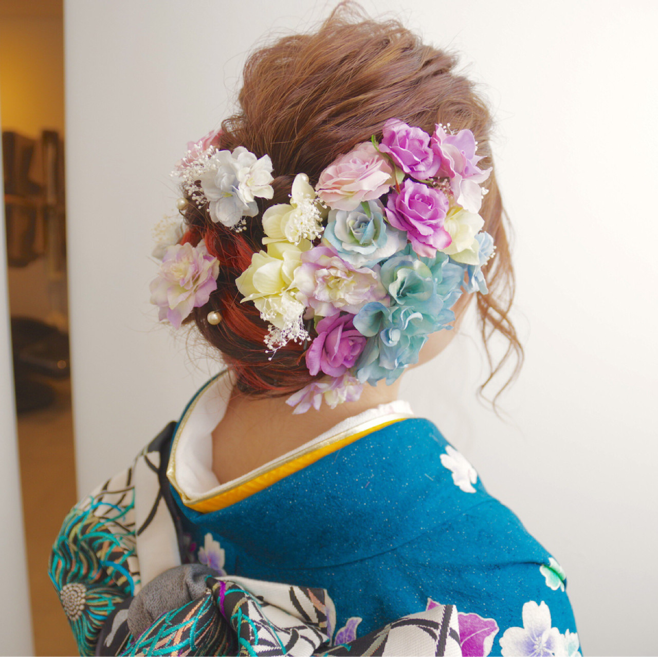 ヘアアレンジ ガーリー 振袖 セミロング ヘアスタイルや髪型の写真・画像 | 鳥越 ありさ / hair…nail  TLABeS