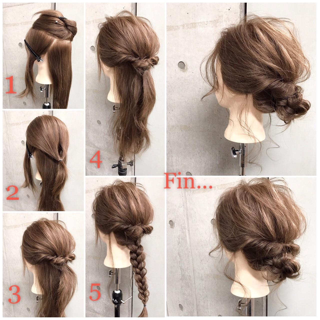 フェミニン 簡単ヘアアレンジ セミロング ヘアアレンジ ヘアスタイルや髪型の写真・画像