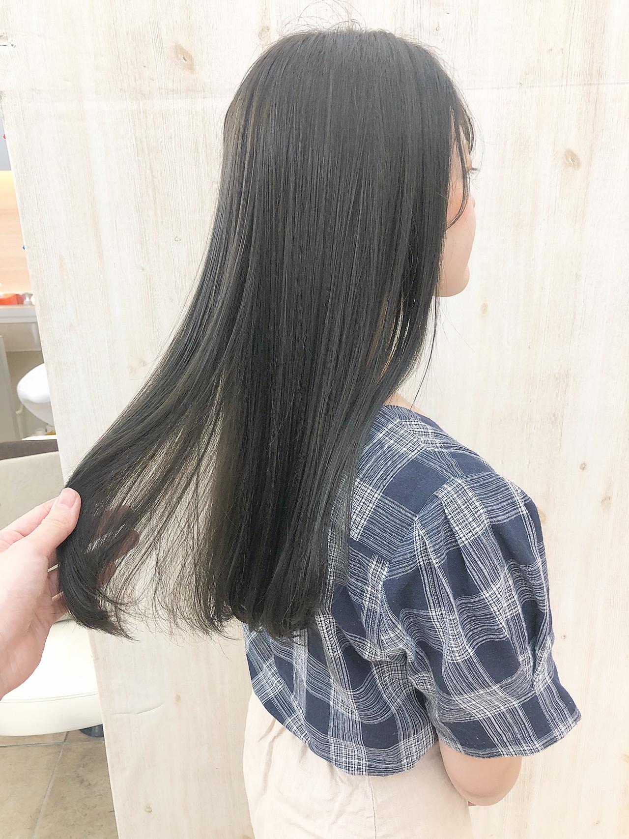 ロング デート ナチュラル ブルーブラック ヘアスタイルや髪型の写真・画像 | befine becs 下川 千尋 / Befine becs