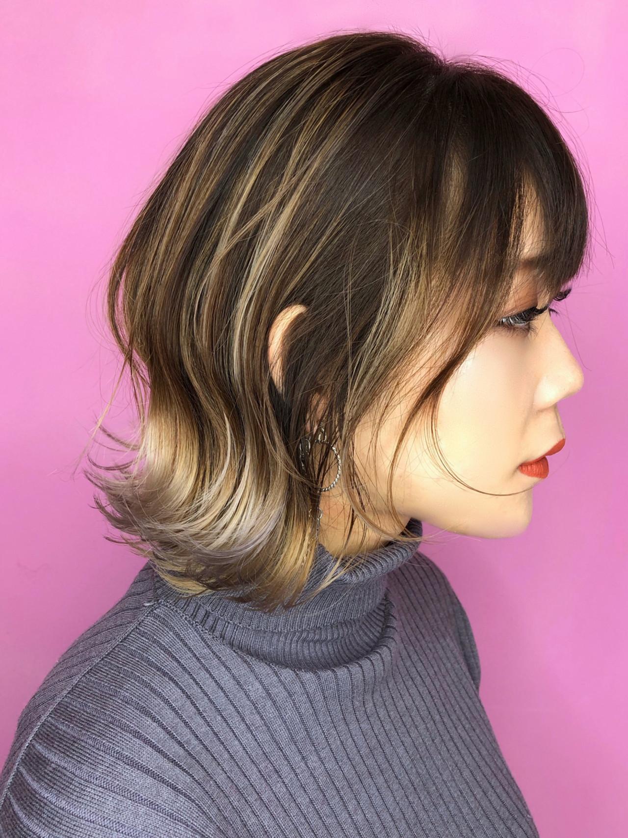 ストリート 大人ハイライト ボブ ハイトーンカラー ヘアスタイルや髪型の写真・画像
