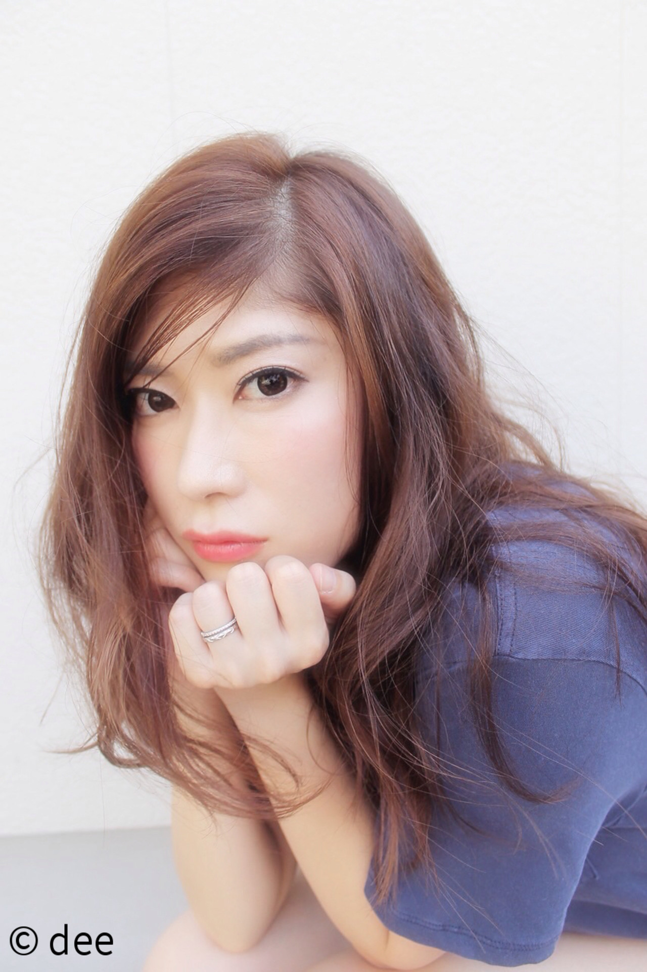 大人かわいい かき上げ前髪 ロング ラフ ヘアスタイルや髪型の写真・画像
