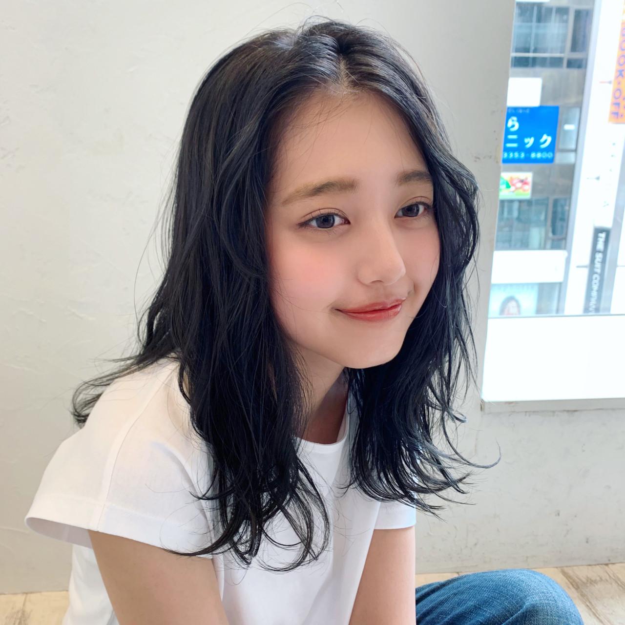 ミディアム 韓国風ヘアー パーマ オルチャン ヘアスタイルや髪型の写真・画像