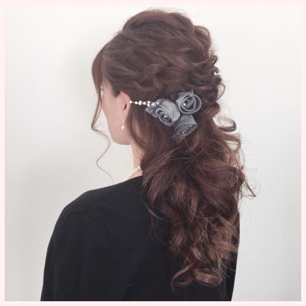 エレガント ロング 上品 ハーフアップ ヘアスタイルや髪型の写真・画像