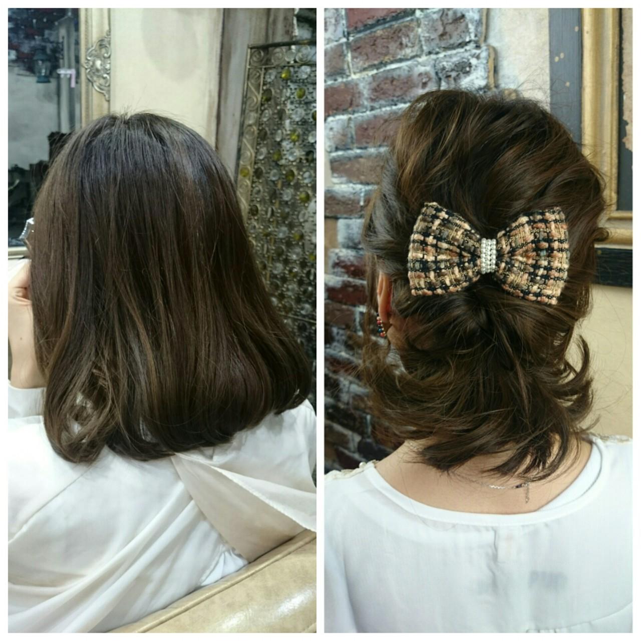 ハーフアップ 大人かわいい ミディアム ショート ヘアスタイルや髪型の写真・画像   村松芳幸 / parade