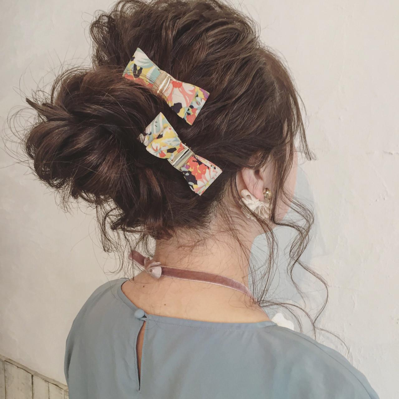 ロング メッシーバン ヘアアレンジ 結婚式 ヘアスタイルや髪型の写真・画像