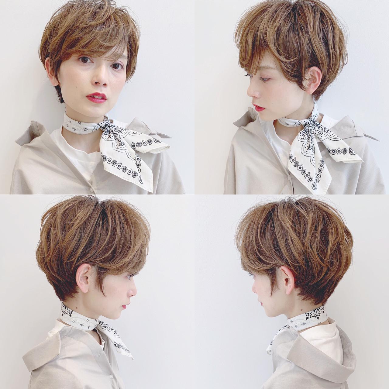 ショート 簡単ヘアアレンジ ナチュラル パーマ ヘアスタイルや髪型の写真・画像 | ショートヘア美容師 #ナカイヒロキ / 『send by HAIR』