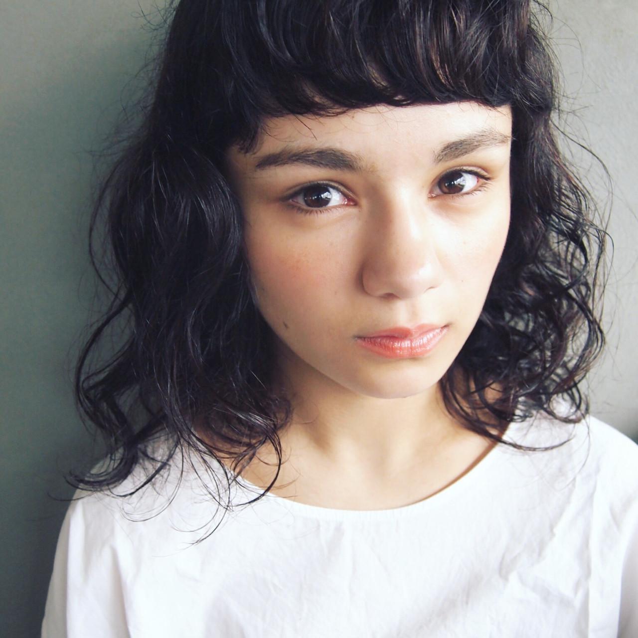 ナチュラル 前髪パーマ 黒髪 くせ毛風 ヘアスタイルや髪型の写真・画像 | UEKI/nanuk / nanuk二子玉川