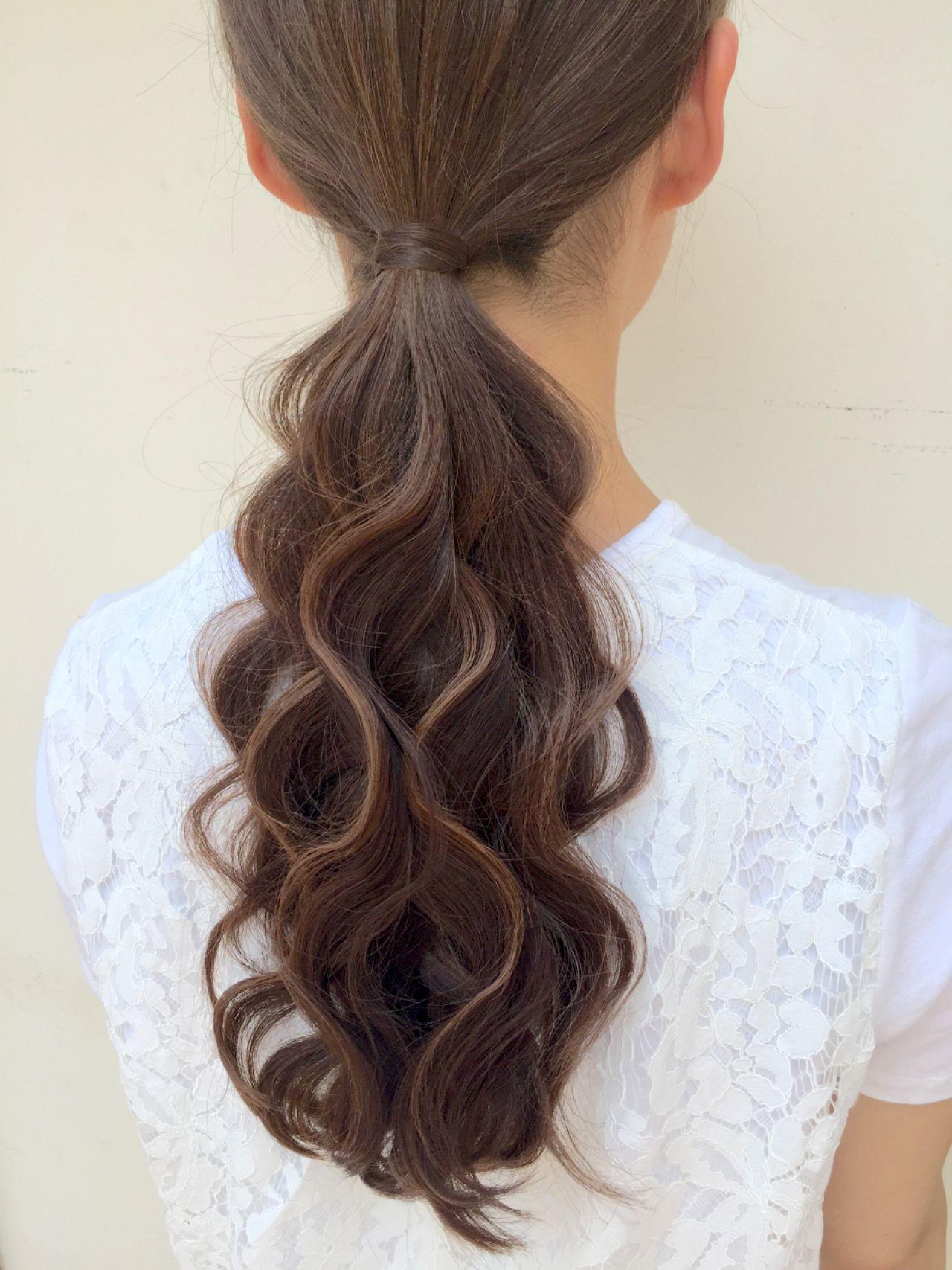 外国人風 ヘアアレンジ セミロング ナチュラル ヘアスタイルや髪型の写真・画像