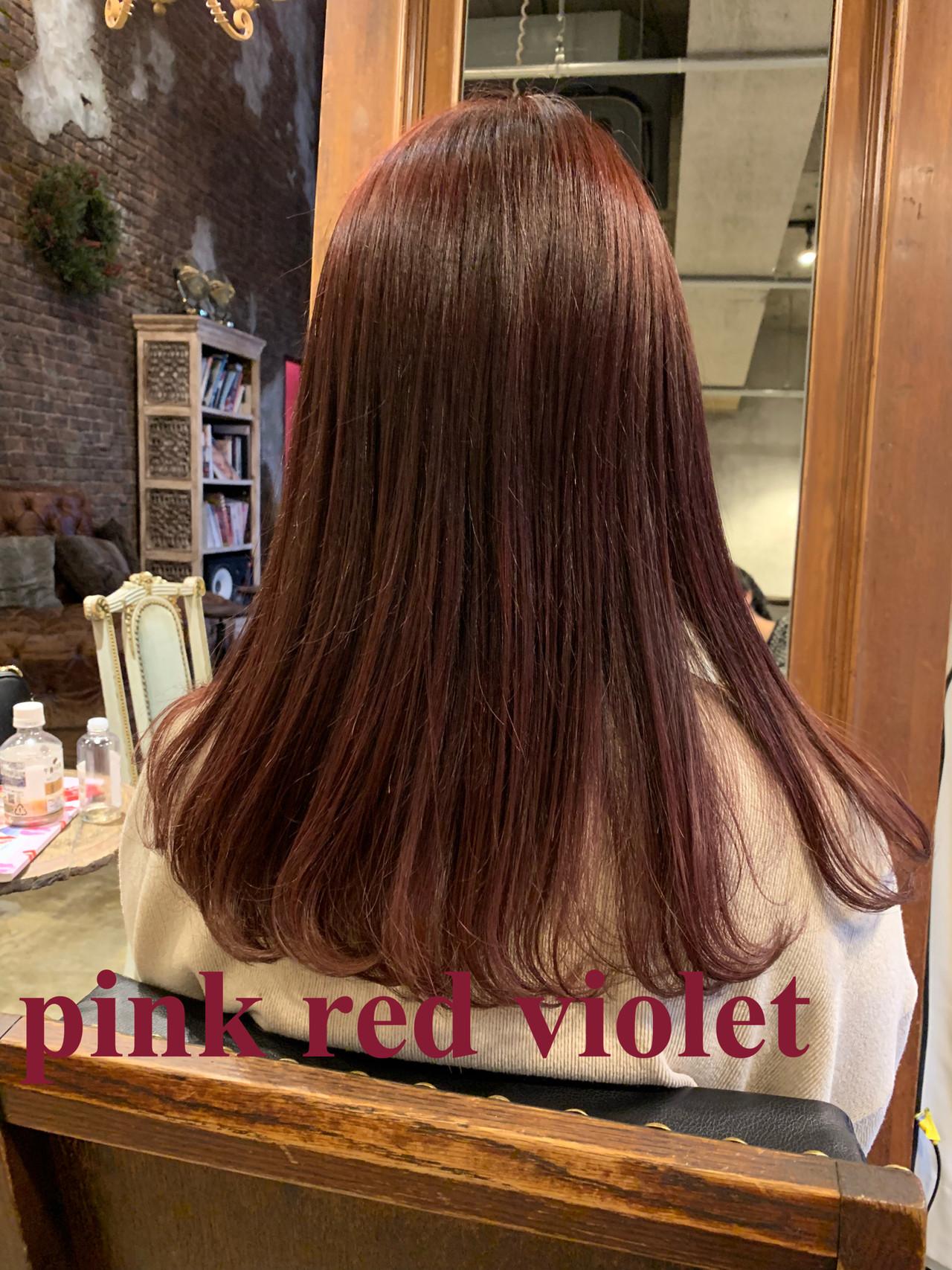 レッド ピンク グラデーションカラー ラベンダーピンク ヘアスタイルや髪型の写真・画像