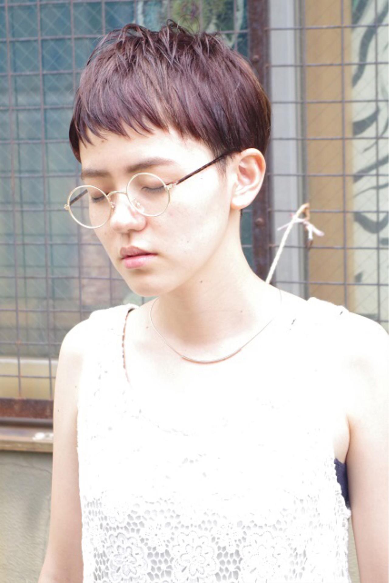 ショート ウェットヘア ハイライト ピュア ヘアスタイルや髪型の写真・画像