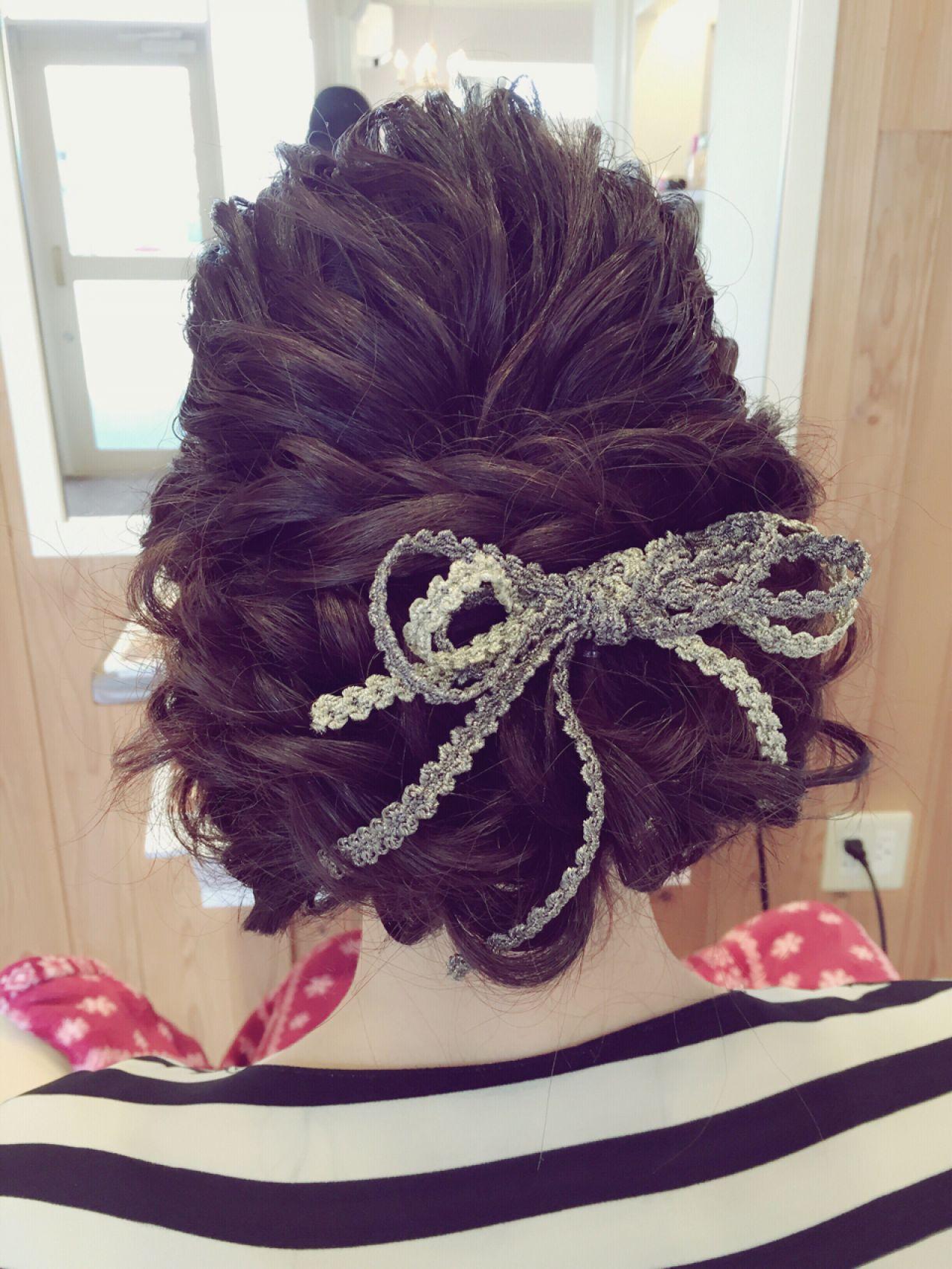 モテ髪 セミロング ヘアアレンジ 結婚式 ヘアスタイルや髪型の写真・画像