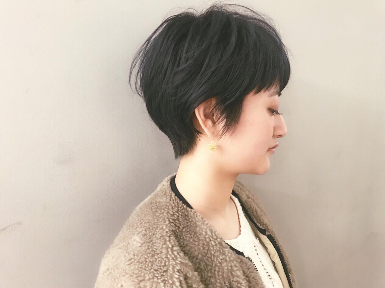 ナチュラル 黒髪 ショート ショートボブ ヘアスタイルや髪型の写真・画像